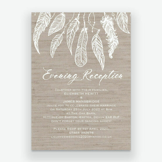 Dream Catcher Evening Reception Invitation