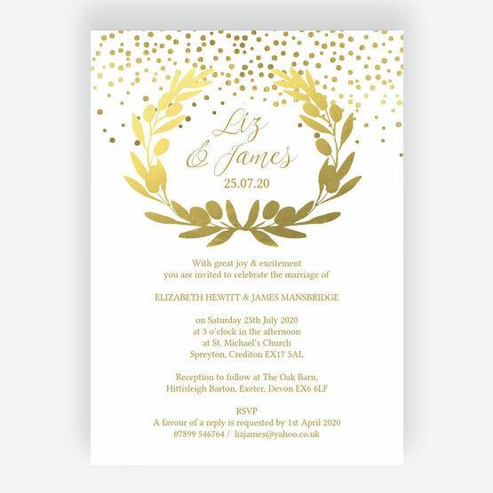 Golden Olive Wreath Wedding Invitation