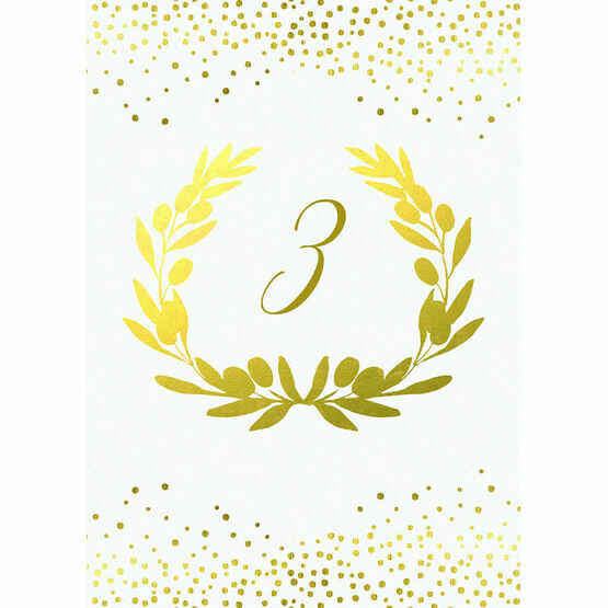 Golden Olive Wreath Table Number