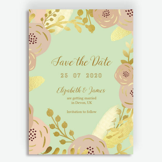 Mint, Blush & Gold Wedding Save the Date