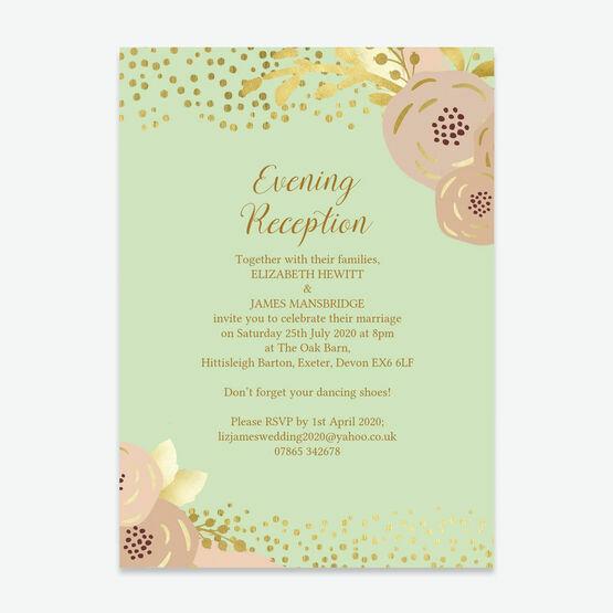 Mint, Blush & Gold Evening Reception Invitation