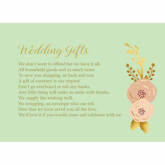 Mint, Blush & Gold Gift Wish Card