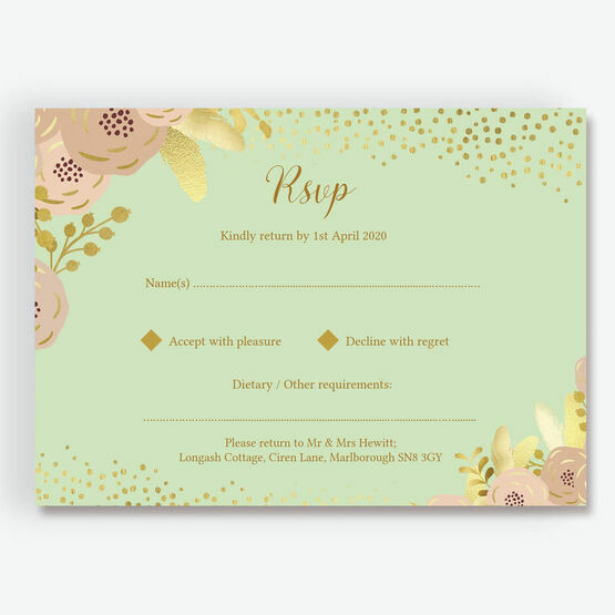 Mint, Blush & Gold RSVP