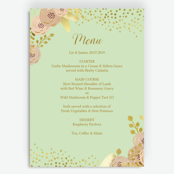 Mint, Blush & Gold Menu