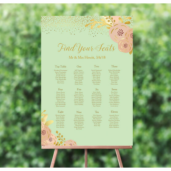 Mint, Blush & Gold Wedding Seating Plan
