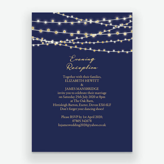 Navy & Gold Fairy Lights Evening Reception Invitation