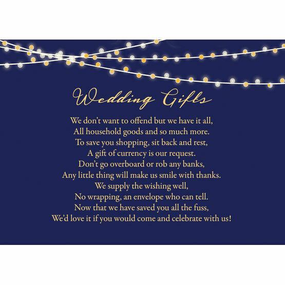 Navy & Gold Fairy Lights Gift Wish Card