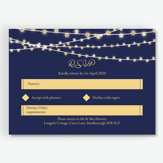 Navy & Gold Fairy Lights RSVP