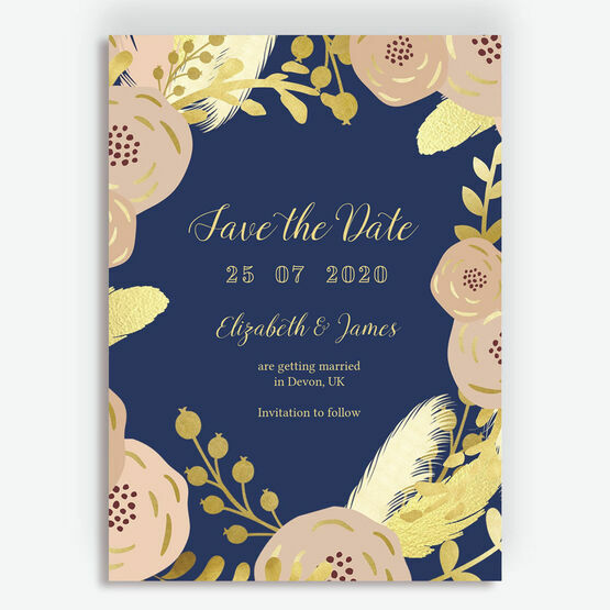Navy Blush Gold Wedding Save The Date From 085 Each