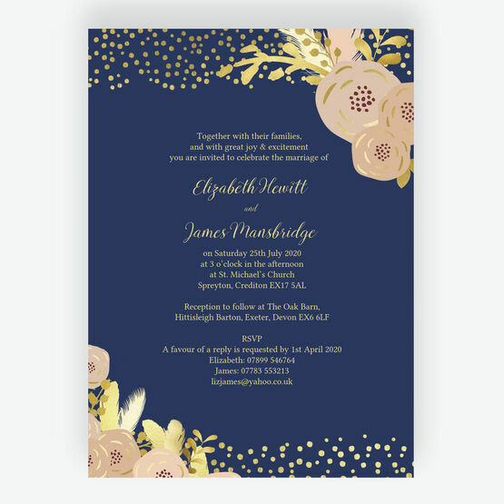 Navy, Blush & Gold Wedding Invitation