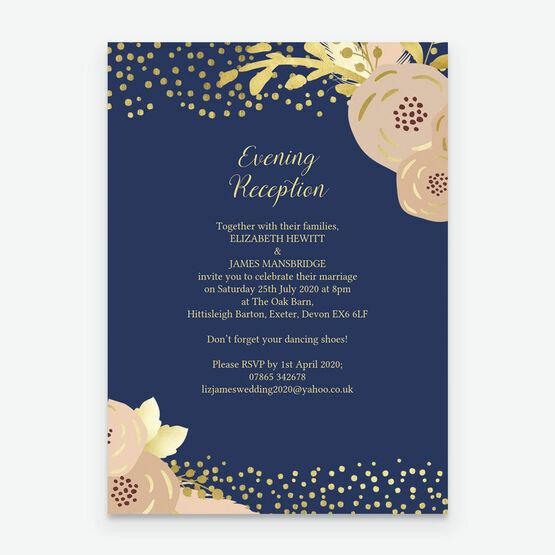 Navy, Blush & Gold Evening Reception Invitation