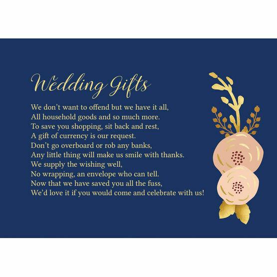 Navy, Blush & Gold Gift Wish Card