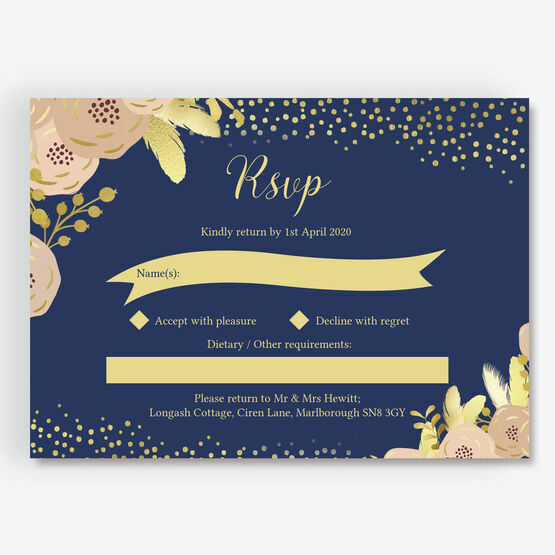 Navy, Blush & Gold RSVP