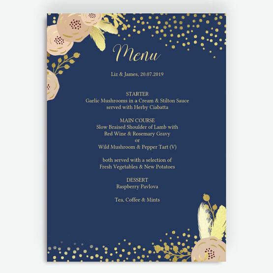 Navy, Blush & Gold Menu