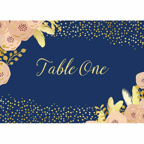 Navy, Blush & Gold Table Name