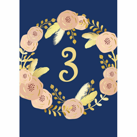 Navy, Blush & Gold Table Number