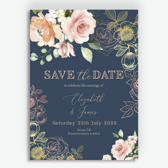 Navy, Blush & Rose Gold Floral Wedding Save the Date