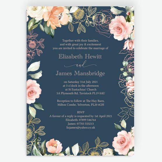 Navy, Blush & Rose Gold Floral Wedding Invitation