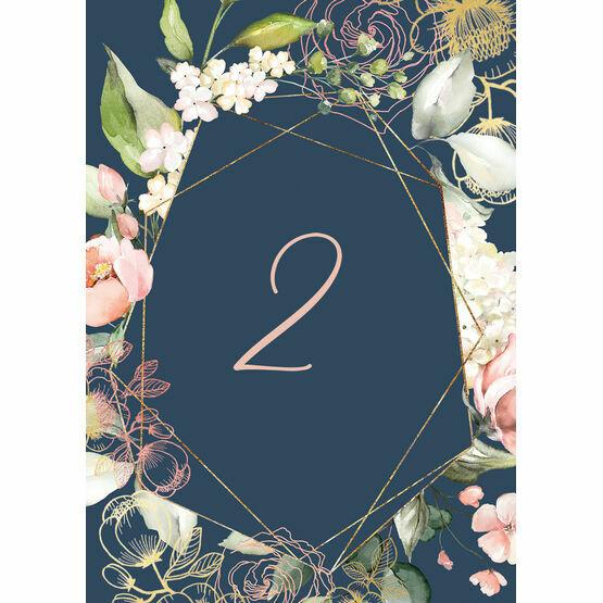 Navy, Blush & Rose Gold Floral Table Number