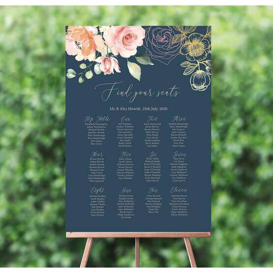 Navy, Blush & Rose Gold Floral Wedding Seating Plan