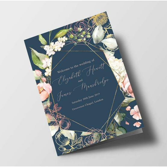 Navy, Blush & Rose Gold Floral Wedding Order of Service Booklet