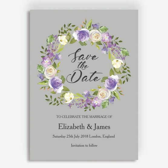Pastel Lilac Flowers Wedding Save the Date