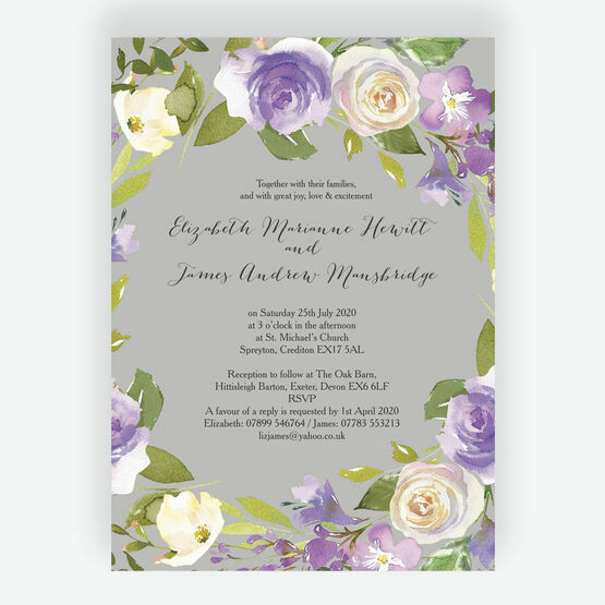 Pastel Lilac Flowers Wedding Invitation