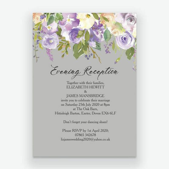 Pastel Lilac Flowers Evening Reception Invitation