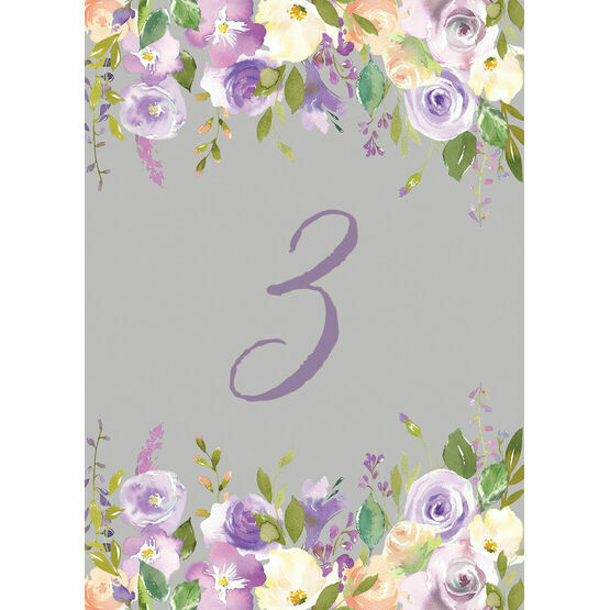 Pastel Lilac Flowers Table Number