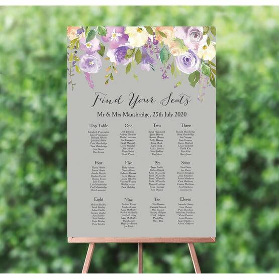 Pastel Lilac Flowers Wedding Seating Plan