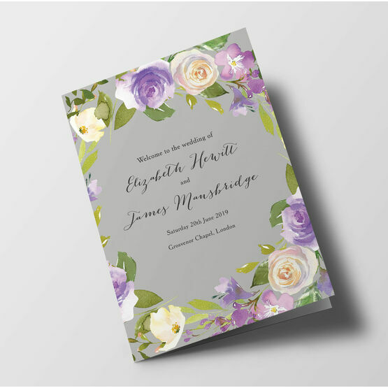 Pastel Lilac Flowers Wedding Order of Service Booklet