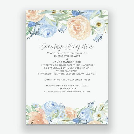 Peach & Blue Floral Evening Reception Invitation