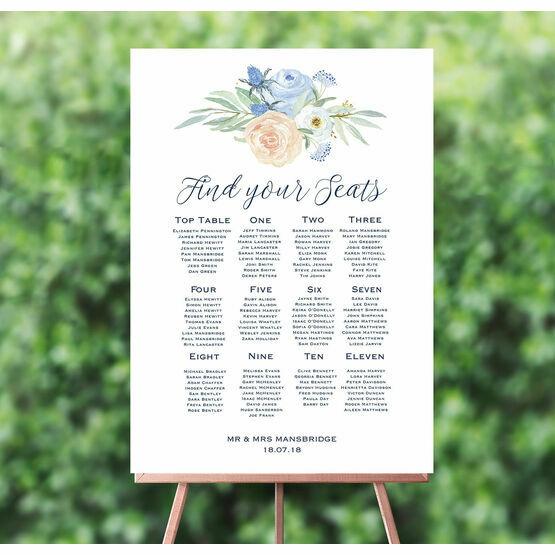 Peach & Blue Floral Wedding Seating Plan