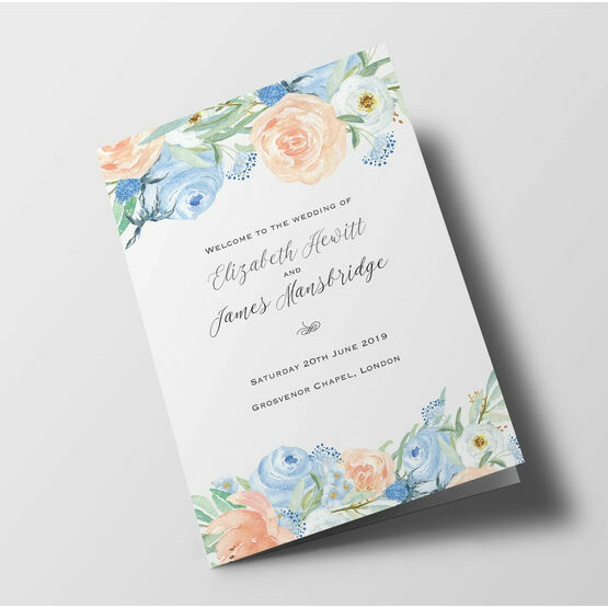 Peach & Blue Floral Wedding Order of Service Booklet