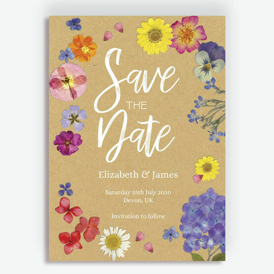 Pressed Wedding Flowers: Pressed Flowers Wedding Save The Date From £0.85 Each