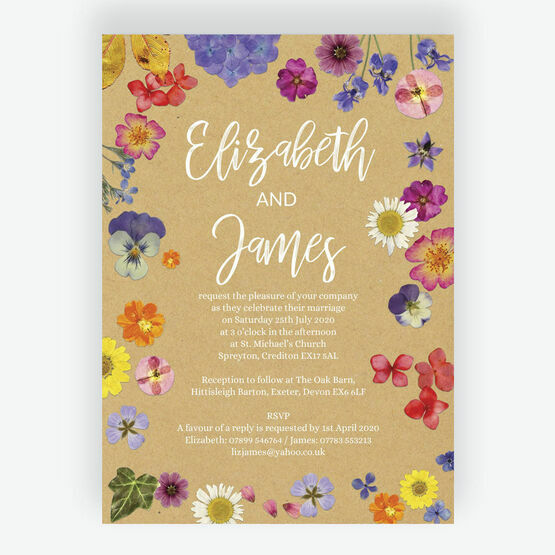 Pressed Flowers Wedding Invitation