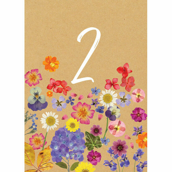 Pressed Flowers Table Number