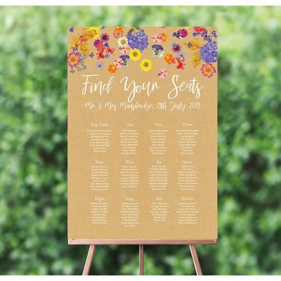 Pressed Flowers Wedding Seating Plan
