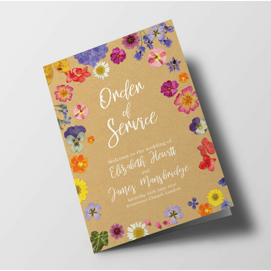 Pressed Flowers Wedding Order of Service Booklet