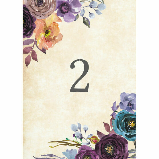 Purple Floral Table Number