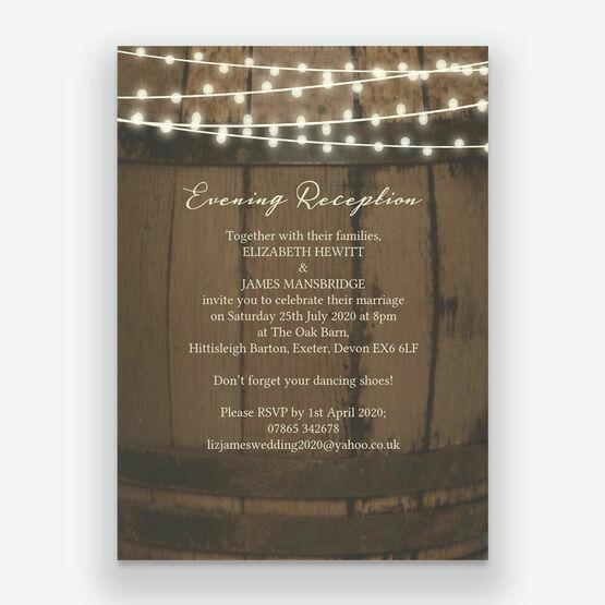 Rustic Barrel & Fairy Lights Evening Reception Invitation