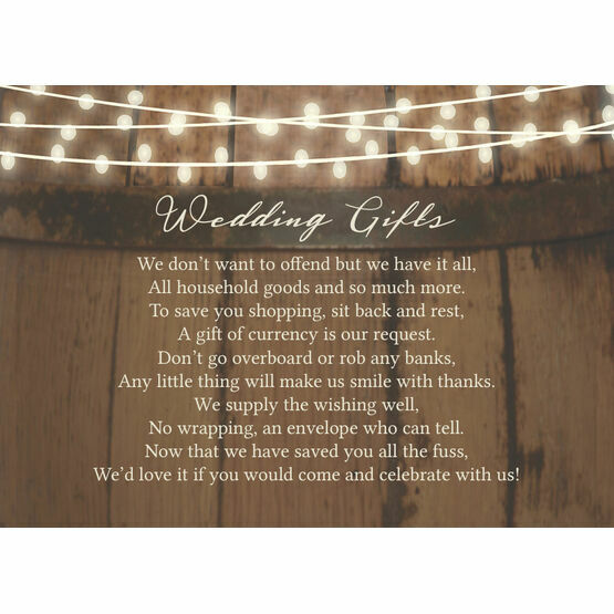 Rustic Barrel & Fairy Lights Gift Wish Card