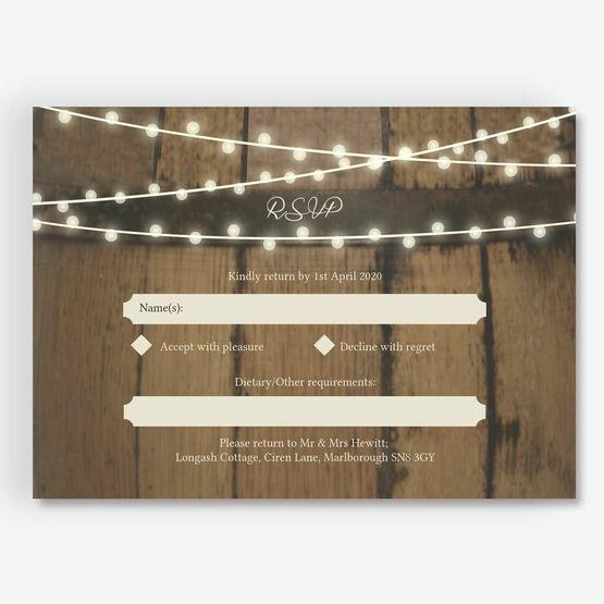 Rustic Barrel & Fairy Lights RSVP