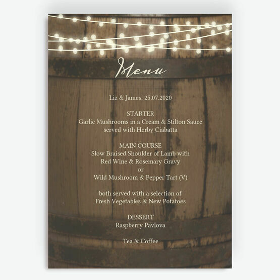 Rustic Barrel & Fairy Lights Menu