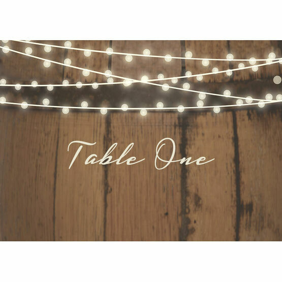 Rustic Barrel & Fairy Lights Table Name