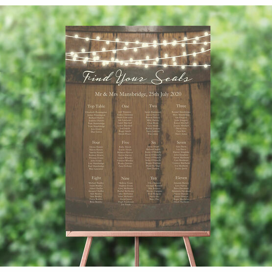 Rustic Barrel & Fairy Lights Wedding Seating Plan