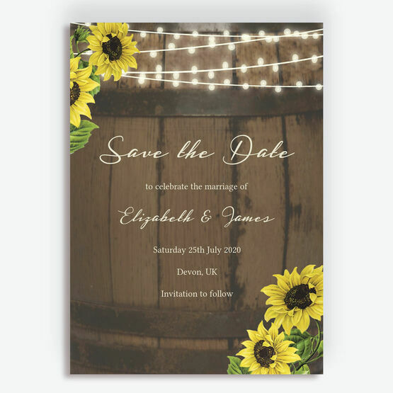 Rustic Barrel & Sunflowers Wedding Save the Date