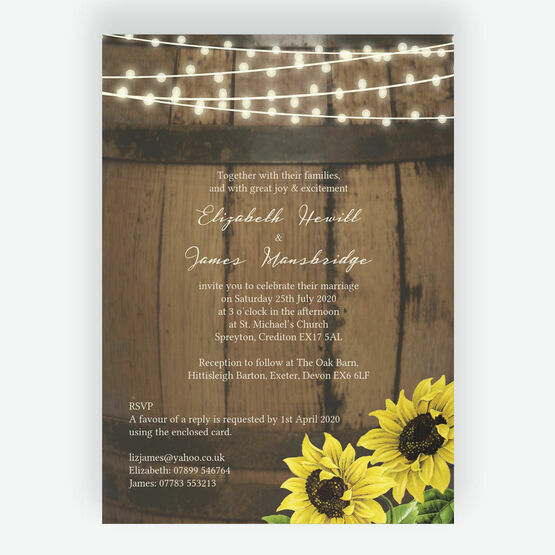 Rustic Barrel & Sunflowers Wedding Invitation