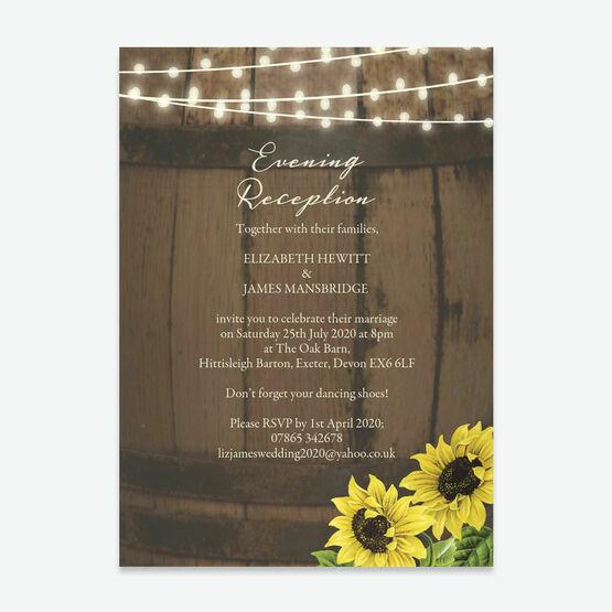 Rustic Barrel & Sunflowers Evening Reception Invitation