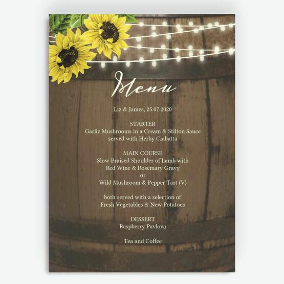 Rustic Barrel & Sunflowers Menu